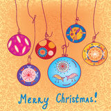 Christmas card with balls Royalty Free Stock Photography