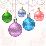 Christmas card with balls. Christmas card (background) with balls and beads on  light background Stock Photos