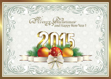 Christmas card with 2015 with balls Royalty Free Stock Images