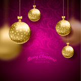 Christmas card with balls background Stock Photography