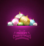 Christmas card with balls background Stock Photo