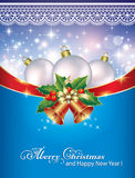 Christmas card with balls and bells. On a blue background Royalty Free Stock Images