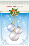Christmas card with balls and bells. On a blue background Stock Photo
