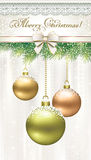 Christmas card with balls on the branches of spruce. Christmas card with balls and beautiful bow Stock Photography