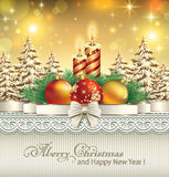 Christmas card with balls and candles. On the background with blurred lights Stock Images