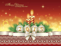 Christmas card with 2015 with balls and candles. On the background of Christmas lights Stock Illustration