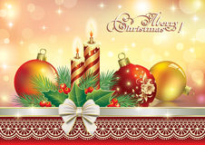 Christmas card 2015 with balls and candles. Christmas card with balls and candles on a glowing background royalty free illustration