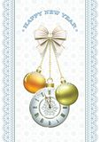 Postcard Happy New Year with balls and clock Stock Images