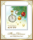 Christmas card with balls and clock 2016 Royalty Free Stock Images