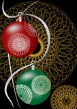 Christmas card with balls on dark background Stock Photo