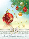 Christmas card with balls. Of decoration Royalty Free Stock Photo