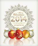 Christmas card. With balls of decoration Royalty Free Stock Photo