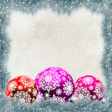 Christmas card with balls. EPS 8 Royalty Free Stock Photo