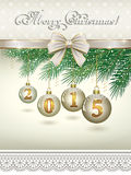 Christmas card 2015. 2015 Christmas card with balls on fir branches Stock Illustration