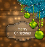 Christmas Card with Balls and Fir Twigs. Illustration Christmas Card with Balls and Fir Twigs on Wooden Texture with Light - vector Royalty Free Stock Photography