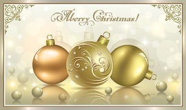 Christmas card with balls.   Christmas card with balls in gold design Stock Photos