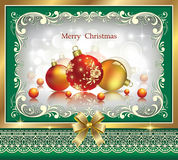 Christmas card with balls. Christmas card with golden balls in a decorative frame Royalty Free Stock Photos