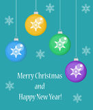 Christmas card with balls, Happy New Year and Merry . vector illustration stock illustration