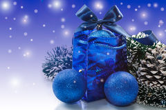 Christmas card with balls. And ornaments on a blue background Stock Images