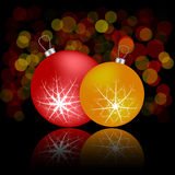 Christmas card with balls and reflection. Red, orange Stock Image