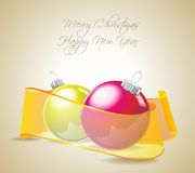 Christmas card with balls and ribbons Royalty Free Stock Photography