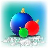 Christmas card. With christmas balls and snowflakes stock illustration