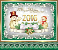 Christmas card with balls and snowmen. In a decorative frame Stock Images