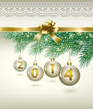 Christmas card 2014. 2014 Christmas card with balls on Christmas tree branches Royalty Free Stock Image