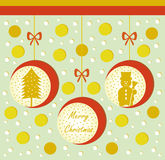 Christmas card with balls tree and snowman Stock Image