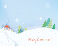 Christmas card or banner with countryside landscape Royalty Free Stock Photos