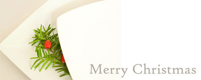 Christmas card banner with decorative branch of yew Stock Images
