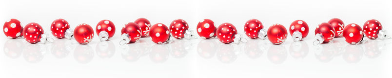 Christmas card, banner, red baubles Stock Photos