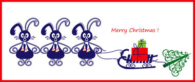 Christmas card or banner with three rabbits. Christmas illustration of three friends with gifts and X-mas tree Stock Image