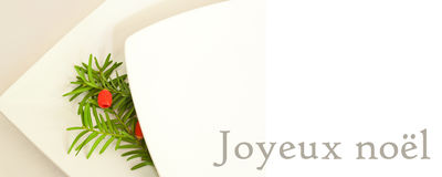 Christmas Card Banner With Decorative Branch Of Yew