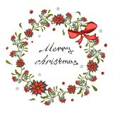 Christmas card, banner with a wreath of red poinsettia flowers, mistletoe with a bell and a bow. vector illustration