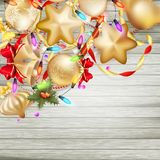 Christmas card with baubles. EPS 10 Stock Photo