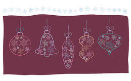 Christmas card with baubles Royalty Free Stock Image