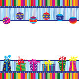 Christmas card with baubles and gift boxes Stock Photos