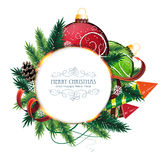Christmas card with baubles Stock Images
