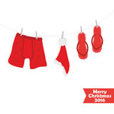 Christmas card. Beach accessories, swimsuit Royalty Free Stock Photo