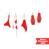 Christmas card. Beach accessories, swimsuit Royalty Free Stock Images