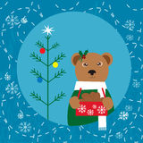 Christmas card with bear Royalty Free Stock Image