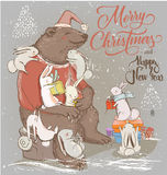 Christmas card with bear and hares Royalty Free Stock Image