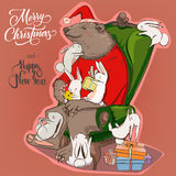 Christmas card with bear and hares Stock Images