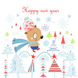 Christmas card with a bear in the woods Stock Images