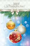 Christmas card with beautiful balls on fir branche. S on the original background Royalty Free Stock Photography