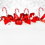 Christmas decorations in snow Royalty Free Stock Images