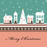Christmas card with a beautiful little snow-covere Royalty Free Stock Image