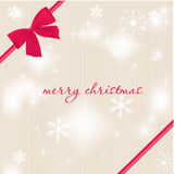 Christmas card with beautiful red satin bow Stock Image