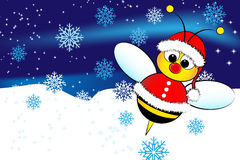 Christmas card with a bee Santa Claus Royalty Free Stock Photography